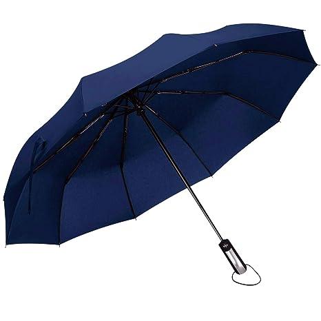 DORRISO Paraguas Plegable Automático Mujer Hombres Multiuso y Resistente al Viento Impermeable 10 Varillas Reforzadas Mango