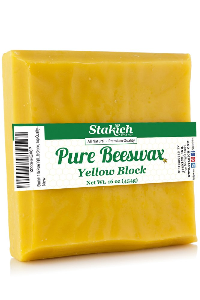 Stakich 1 lb Pure Yellow BEESWAX Block - Craft Grade, Top Quality Inc. 1581