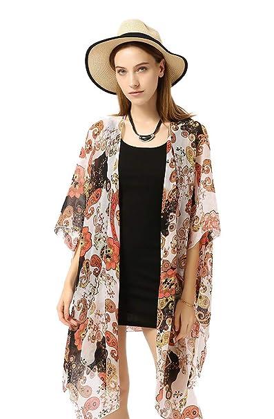 Amazon.com: HINURA Kimono - Chaqueta de gasa para mujer ...