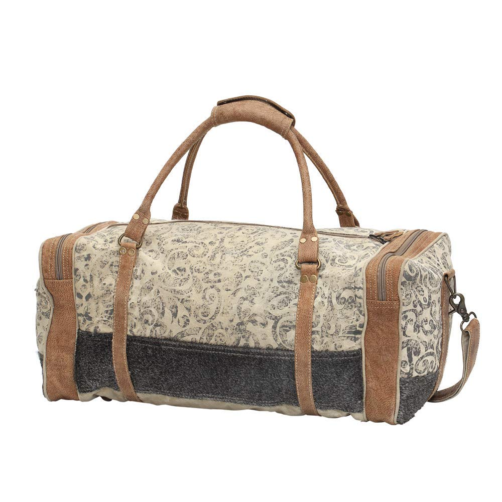 b86a7bf6197e Myra Bag Floral Upcycled Canvas & Cowhide Leather Travel Bag S-0999