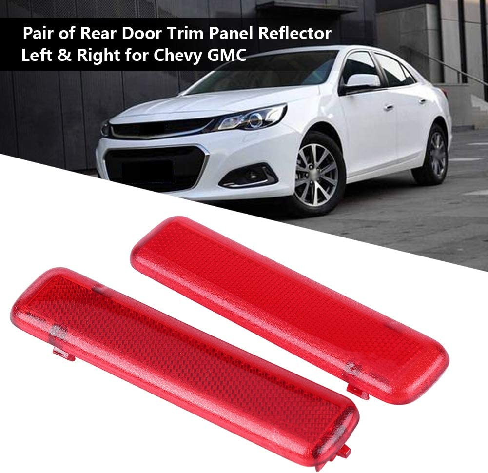 Qiilu 1 Pair Rear Door Trim Panel Reflector Left /& Right Interior Red for Chevy GMC 15183155 15183156