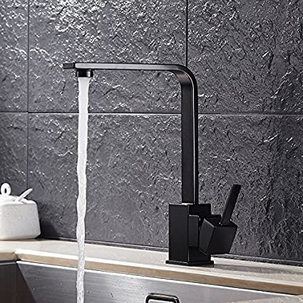 Homili Modern Black Kitchen Sink Faucet Swivel Spout Single Level