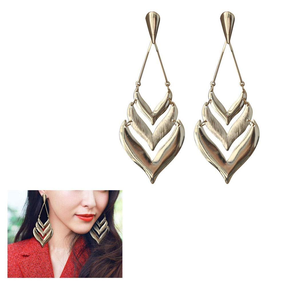 Long Geometry Multi-storey Hollow Big Love Earrings,Metal Punk Smooth Heart-Shaped Arrow Earrings for Women Girls Birthday Gifts