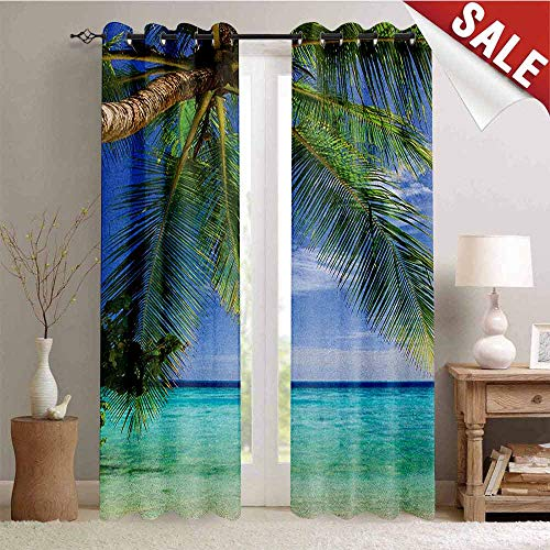 Ocean, Drapes for Living Room, Tropical Paradise View at Maldives with Palms Clear Blue Sky Seashore Picture, Window Curtain Fabric, W96 x L96 Inch Green Aqua Blue ()