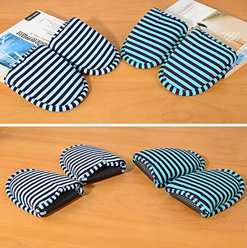 Comfysail Unisex Foldable Soft Slippers with Portable Bag Non-Slip Cotton-Padded Flip Flop Shoes for Home Travel Hotel Teal Large YlSm5ZJo