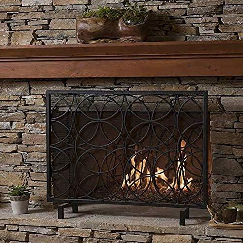 メッシュカバー、オープン火災/ガス火災のための単一のパネルの赤ちゃん安全な消防スクリーンスパークガード/ログウッドバーナーで特大暖炉スクリーン (Color : Black)