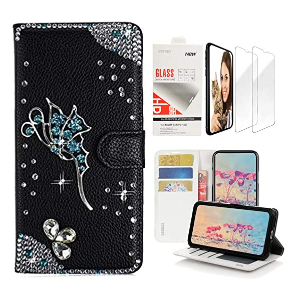 timeless design a7418 8629a STENES Bling Wallet Case Compatible iPhone X/iPhone Xs - 3D Handmade Fairy  Design Leather Case with Wrist Strap & Screen Protector [2 Pack] - Black