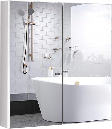 COSTWAY Armoire de Toilette avec Miroir en Bois MDF Armoire ...