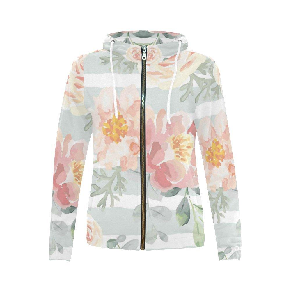InterestPrint Custom Womens Zipper Hoodies Sweatshirt with Design