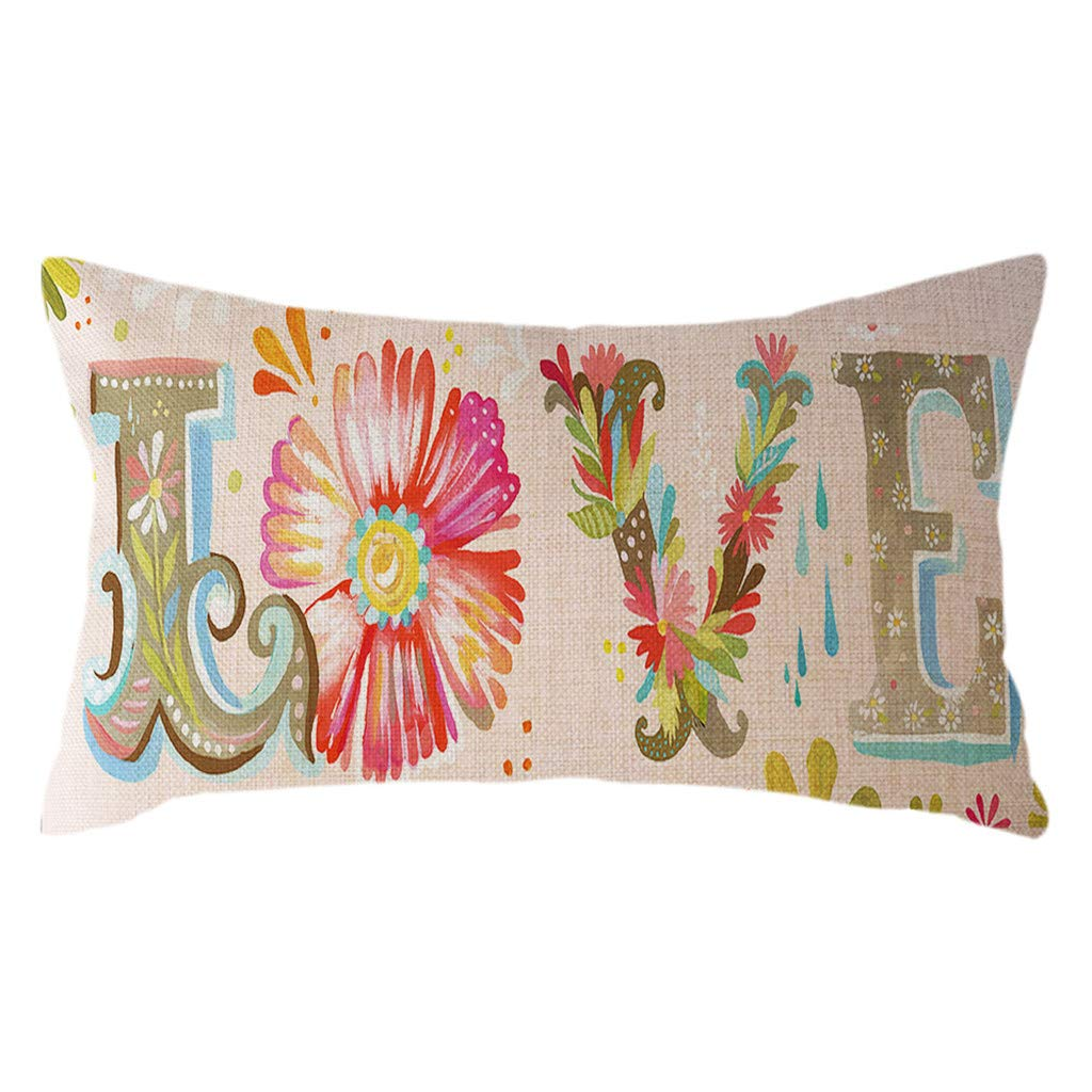 Designed for Valentine's Day,PASHY Cushions for Sofa Love Words Valentine Home Decor Linen 30x50cm Throw Pillow Cover