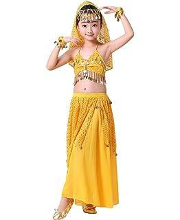 4b02678d8b3f4 Anguang Enfants Filles Camisole Crop Top Costume de Danse Indienne Jupe de  Danse du Ventre