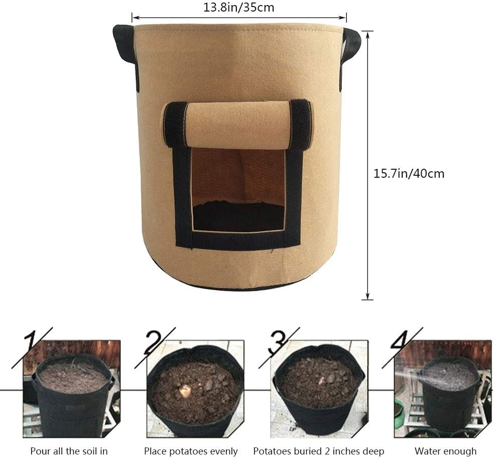 Xiangmall 3 Pack Plant Growth Bag 10 Gallon Grow Bag Pots with Visualization Window Handle for Potatoes Tomatoes Carrot Onion