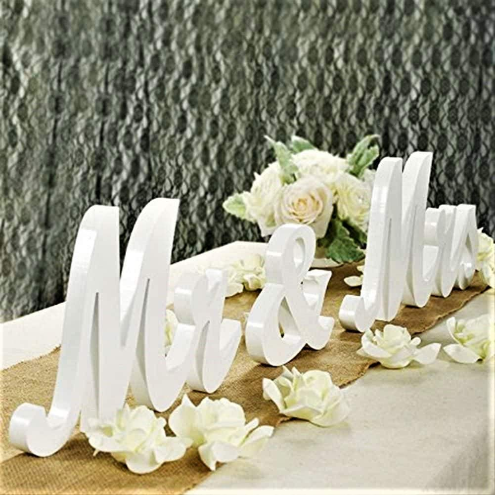 Mr Mrs Sign for Wedding Table,Mr and Mrs Wooden Letters,Large Mr. & Mrs.Party Decoration Items,Head Table Wedding Wood Letter,Just Married Sign Anniversary Party Valentine's Day Vintage Decor,White