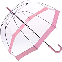 Clifton Clear Dome PVC Birdcage Light Pink Border Umbrella