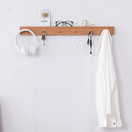 Charmant Wall Mount Wood Coat Hangers With Brass Hook, Heavy Duty Storage Towel Rail  Stick Décor