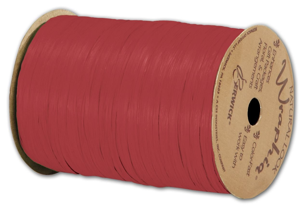Solid Raffia - Matte Wraphia Imperial Red Ribbon, 1/4'' x 100 Yds (3/pack) - BOWS-74900-63 by Miller Supply Inc