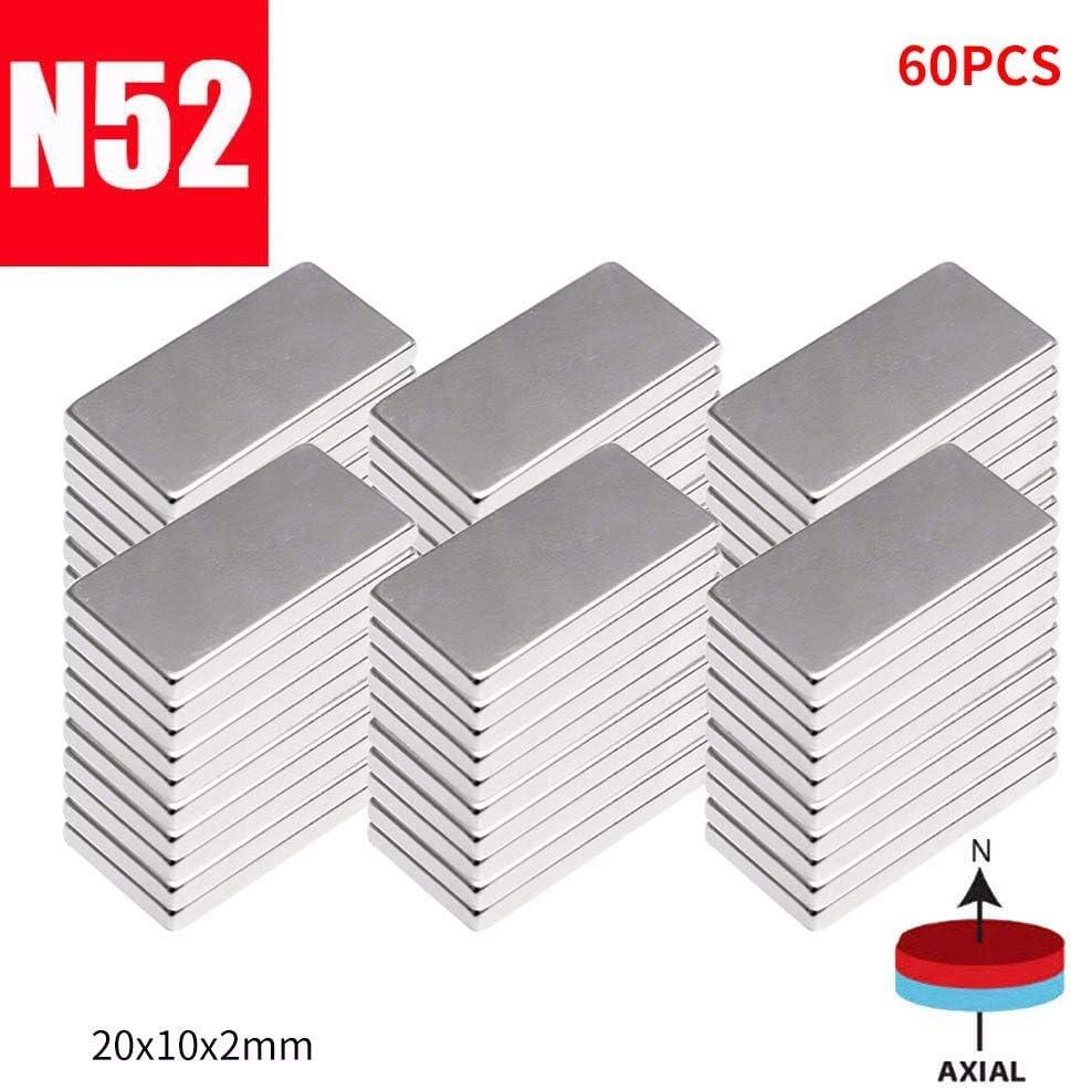 vijTIAN N52 Lot de 10//20//30//60 aimants en n/éodyme 20 x 10 x 2 mm A