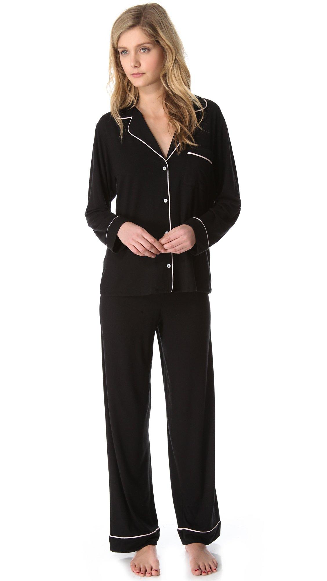 Eberjey Women's Gisele Pajama Set, Black, Medium