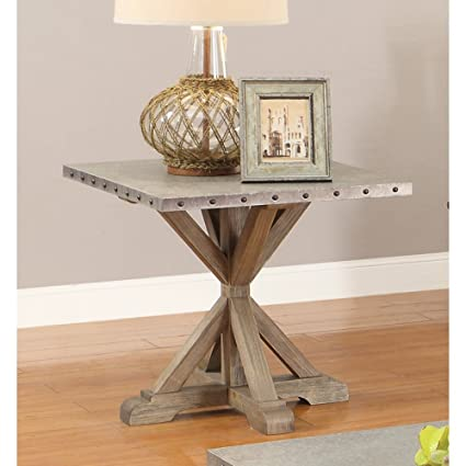 Delicieux Coaster Industrial Driftwood End Table With Nailhead Trim