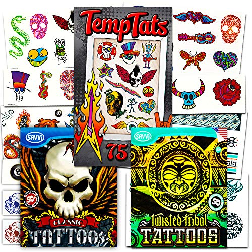 Savvi Classic Tattoos Party Pack (3 Full-sized Bags ~ 125 Tattoos)]()