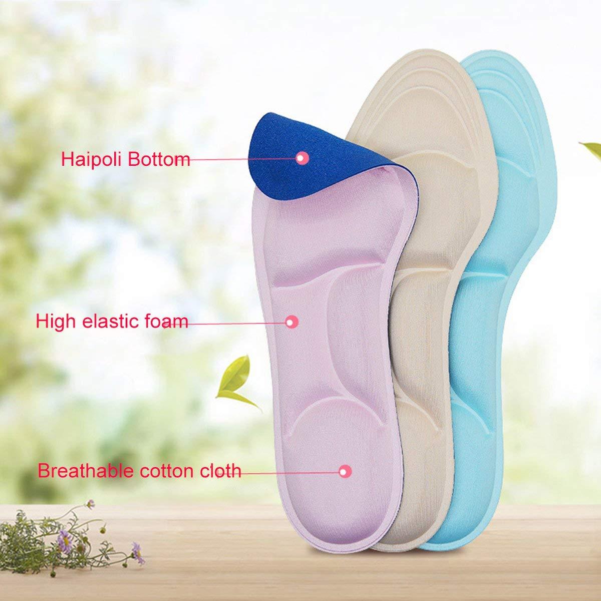 Gugutogo Plantilla 4d de tac/ón Alto para Mujer Plantilla Transpirable de Arco de Confort Plantilla de Corte Suave para Mujer