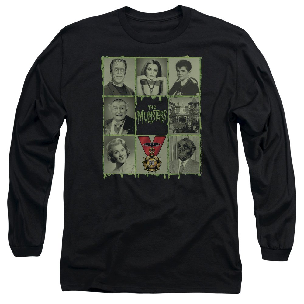 The Munsters Family Sitcom 50th Anniversary Cast Squares Adult Lsleeve Tshirt