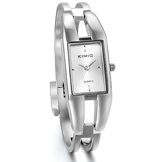 Jewelrywe Reloj Blanco para Mujer, Rectangular Diseño Elegante Fino, Cuarzo Pequeño para Chica Dulce, Buen, Blanco: Amazon.es: Relojes