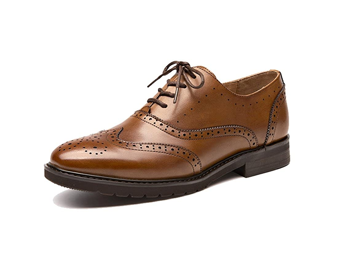 Style3 Yellow Brown TDA Women's Perforated Wingtip Lace-up Leather Dress Vintage Oxford Flat shoes