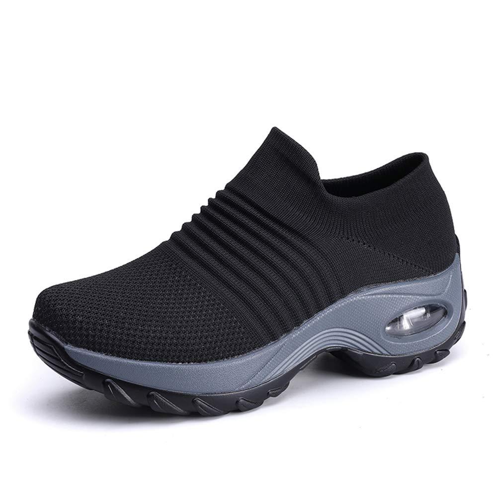 DUOYANGJIASHA Womens Comfortable Walking Shoes Breathable Mesh Slip On Air Cushion Tennis Sock Sneakers Shoe Casual Running Shoes Wedge Platform Loafers