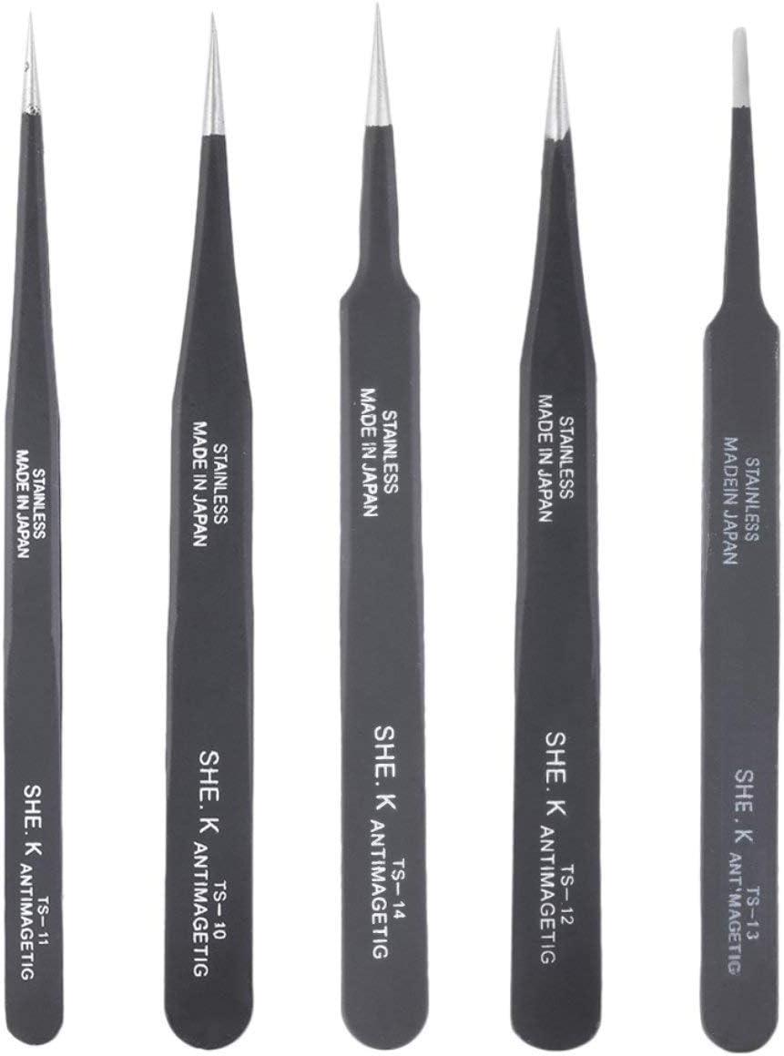 Farbe: Schwarz Professionelle Nicht-magnetische Anti Static feine Spitze Gerade Pinzette-Werkzeug-Edelstahl N/ützliche Reparatur-Werkzeug Schwarz