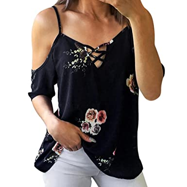 b1ed1edc6ef HARRYSTORE Women s Chiffon Blouse Cold Shoulder Strap Short Sleeve Flower  Lace Up Shirt Tops (S