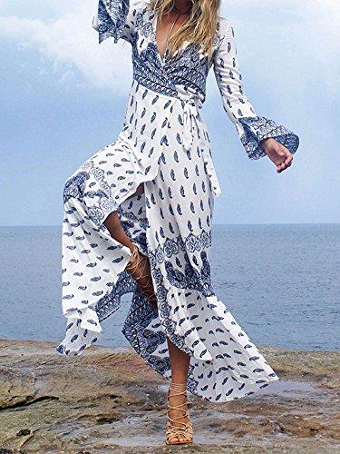 LaoZan Playa Vestido Larga Para Mujeres Impreso Vestido Largo Vestido Maxi Cuello En V Manga Larga Blanco Azul Talla única Blanco Azul