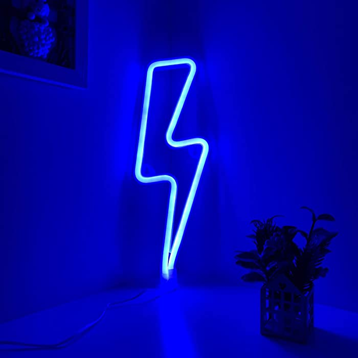 Neon Signs Lightning Bolt Blue Battery Operated & USB Powered LED Decorative Night Lights Lit Up Wall Art Decor for Gaming,Man Cave,Kid's Room,Dorm,Office,Bar,Wedding,Party Decorationn(SDL)