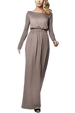 HX fashion Vestidos Mujer Vestidos De Fiesta Largos Elegantes Con Manga Larga Alto Basic Cintura Sueltos Vintage Coctel Otoño E Invierno Vestidos Largos ...