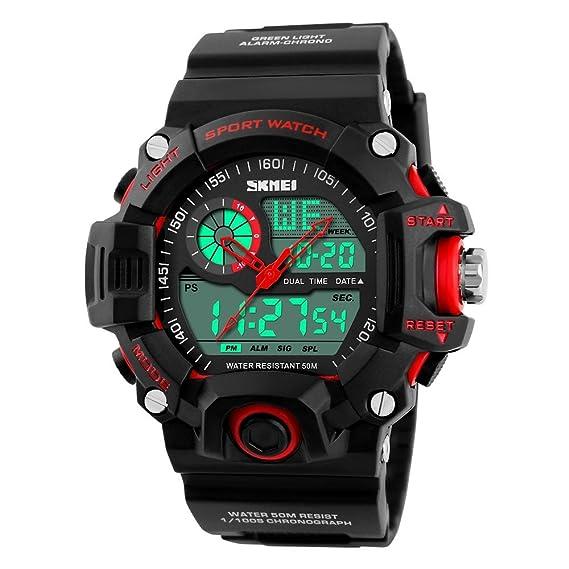 TONSHEN LED Digital Deportivo Relojes de Pulsera Hombre Al Aire Libre 5ATM Resistente al Agua Electrónico Militares 12H / 24H Horas Tiempo Dual Time ...