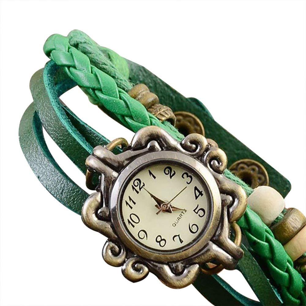 Pocciol Brown Retro Weave Wrap Lady Bead Butterfly Dangle Bracelet Bangle Quartz Wrist Watch (Green)