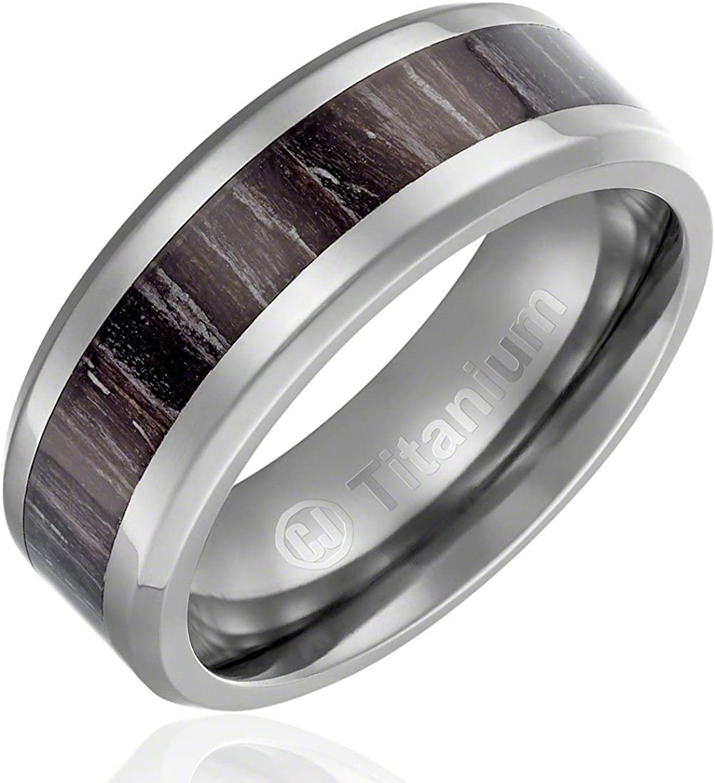 Cavalier Jewelers 8MM Men's Titanium Ring Wedding Band | Brown with Black Stripes Wood Inlay | Beveled Edges