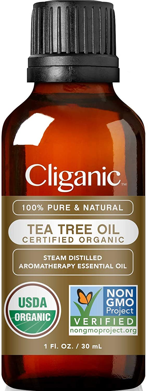 Cliganic Organic Tea Tree Essential Oil, 100% Pure Natural, Therapeutic Grade for Aromatherapy | Premium Certified Organic, Non-GMO