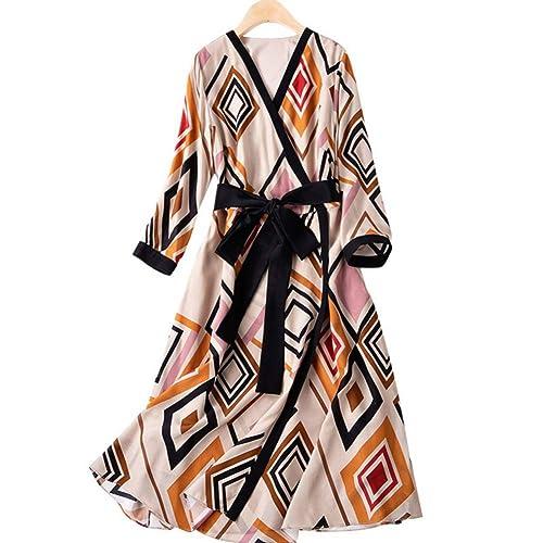 BINGQZ Casual Vestido Vestido de Seda de Primavera con Falda Larga ...