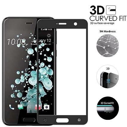 Full Cover HTC U Ultra Cristal Vidrio Templado Premium de Cobertura Completa con Bordes Redondeados 3D,Fibra de Carbono Pantalla Protector para HTC U ...