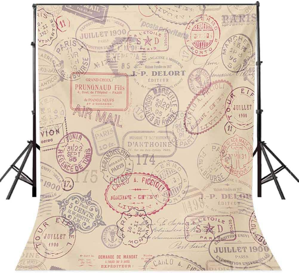 Vintage 10x15 FT Photo Backdrops,Retro Design Inspired Postage Illustration with Beige Background Antique Stamps Background for Photography Kids Adult Photo Booth Video Shoot Vinyl Studio Props
