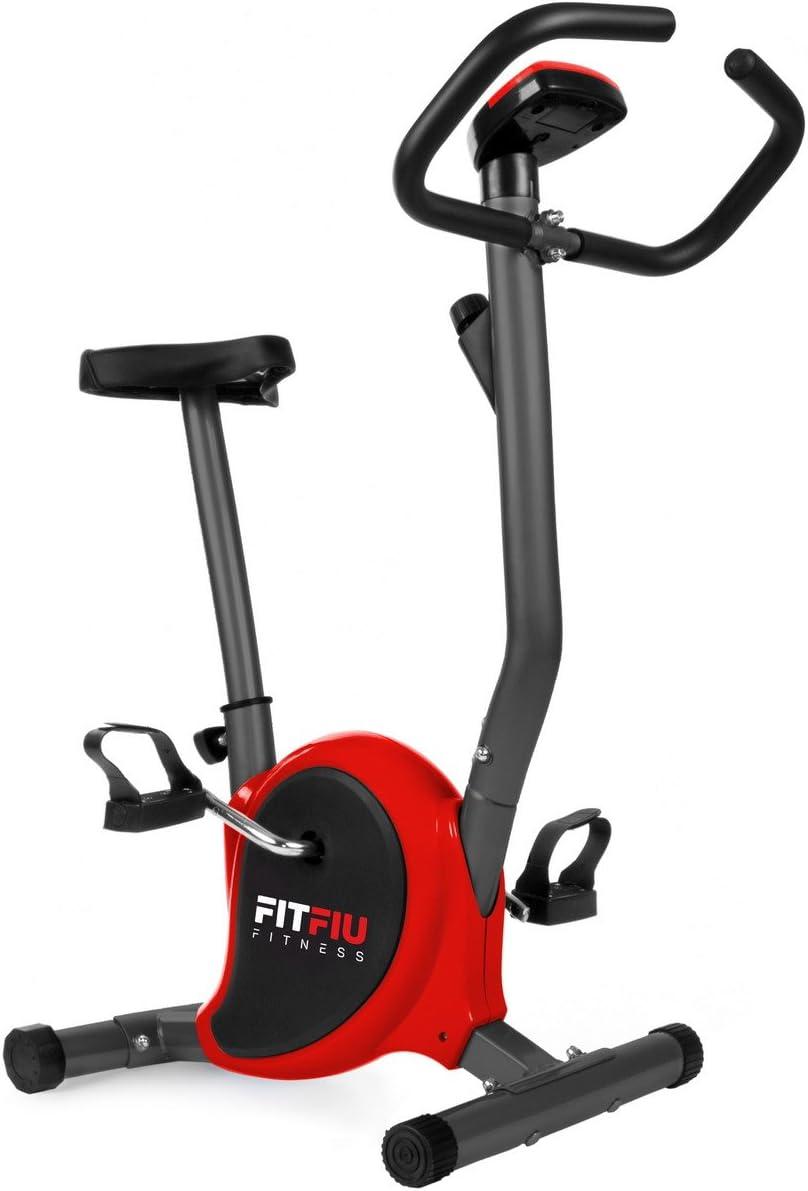 FITFIU Fitness BEST 100 Bicicleta Estática Spinning ultracompacta, 5 kg, sin respaldo, regulable en 8 niveles y pantalla LCD Entrenamiento Fitness Tonificación, Unisex adulto, Roja: Amazon.es: Deportes y aire libre