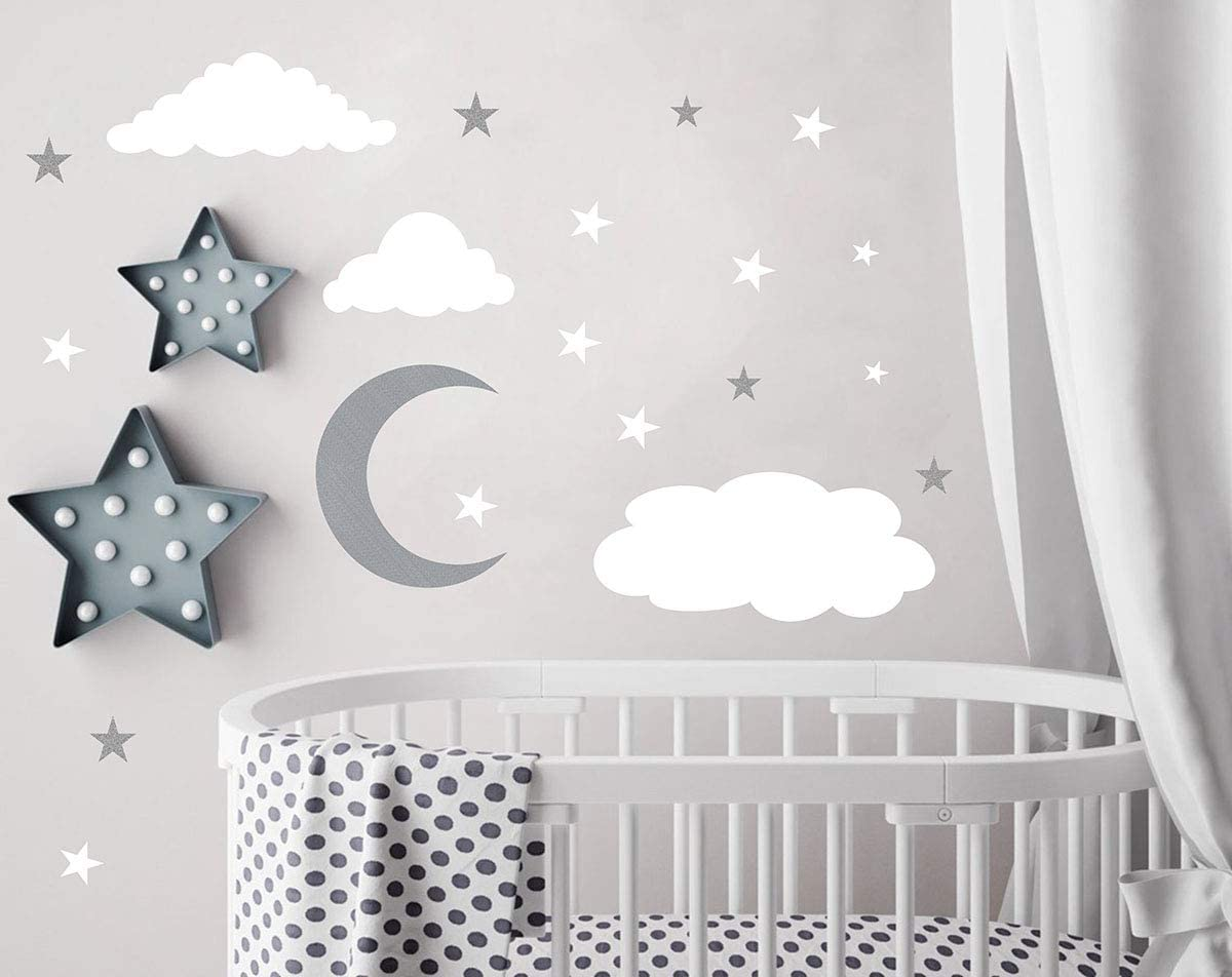 Amazon.com: Clouds Wall Decals Moon and Stars Wall Decal Kids Wall