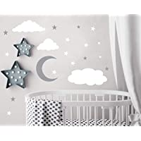 Clouds Wall Decals Moon and Stars Wall Decal Kids Wall Decals Wall Stickers Peel and Stick Removable Wall Stickers Kids…