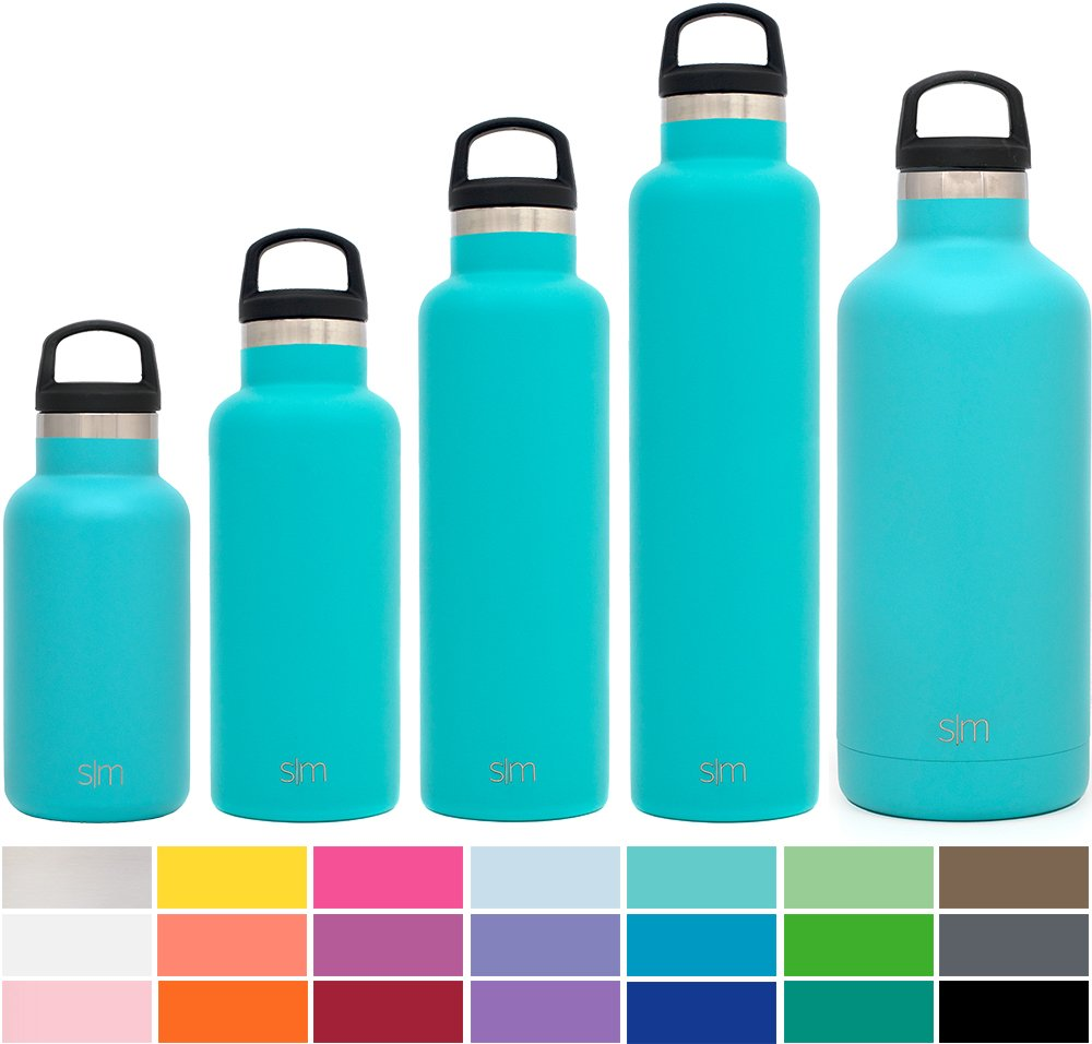 Simple Modern 12oz Ascent Water Bottle - Stainless Steel Hydro Kids Flask w/Handle Lid - Double Wall Vacuum Insulated Teal Reusable Tumbler Small Metal Coffee Leakproof Thermos - A Caribbean