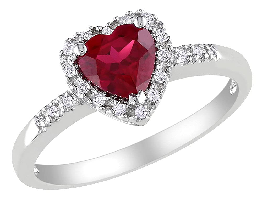 Lab Created Ruby Heart and Diamond Sterling Silver Ring - DeluxeAdultCostumes.com