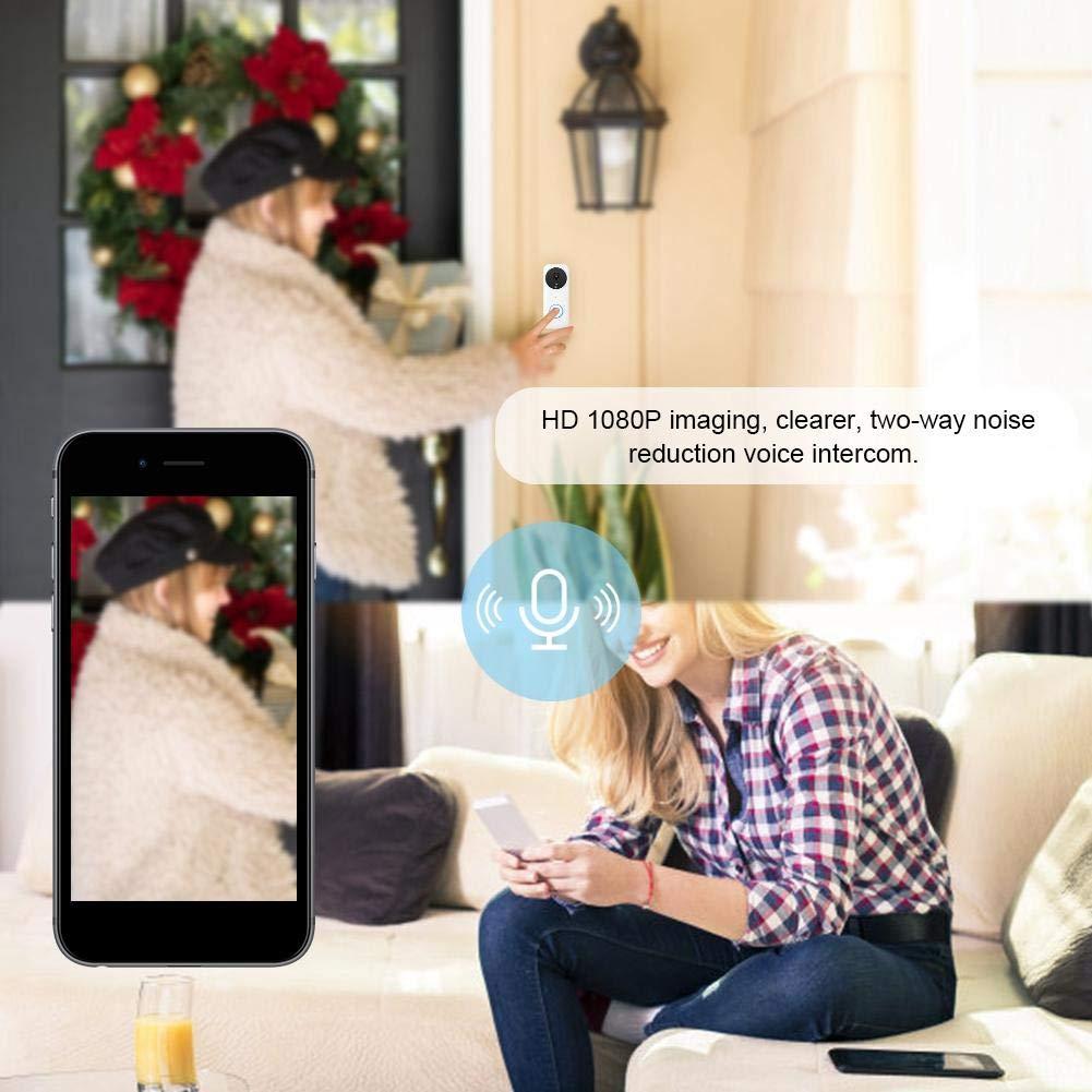 Pangding Video Timbre 1080P WiFi Inal/ámbrico PIR Sensor de Movimiento C/ámara IR Intercomunicador Timbre de la Puerta Visor Sistema de Acceso de Entrada Kit para el apartamento casero