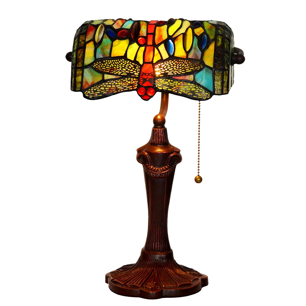 Bieye L10058 10-inches Dragonfly Tiffany Style Stained Glass Banker Table Lamp with Zinc Base (Green)