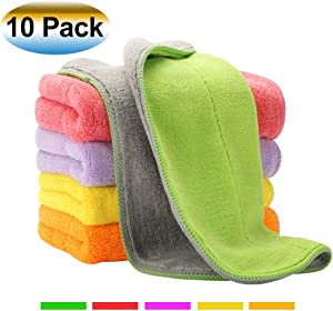 Extra Thick Microfiber Cleaning Cloths with 5 Bright Colors, Super Absorbent Dust Cloths Dish Cloths with Two Color on Two Side, Lint Free Streak Free for Tackling Any Cleaning Job with Ease, 10 Pack