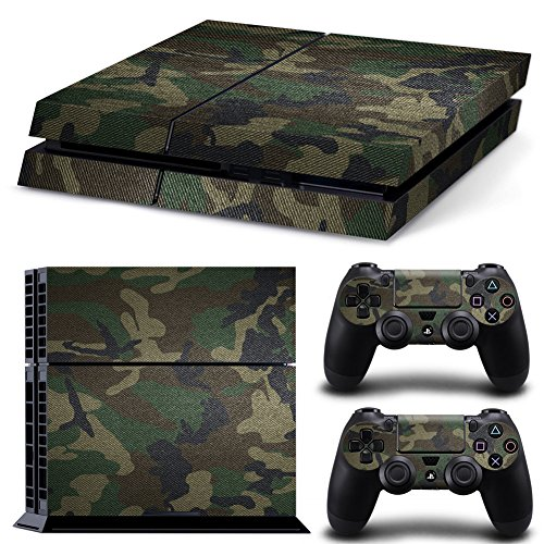 eSeeking Whole Body Vinyl Skin Sticker Decal Cover for PS4 Console and 2PCS Controllers Skins Jungle Camouflage